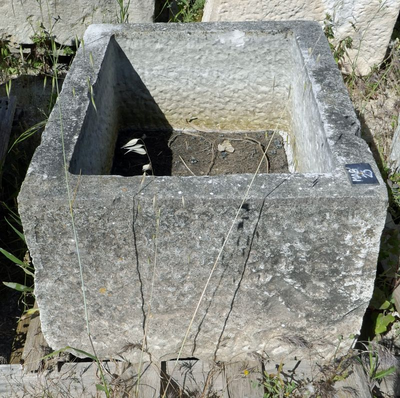 Trough made of natural hard stone - a rectangular trough perfect for shrub, for example.