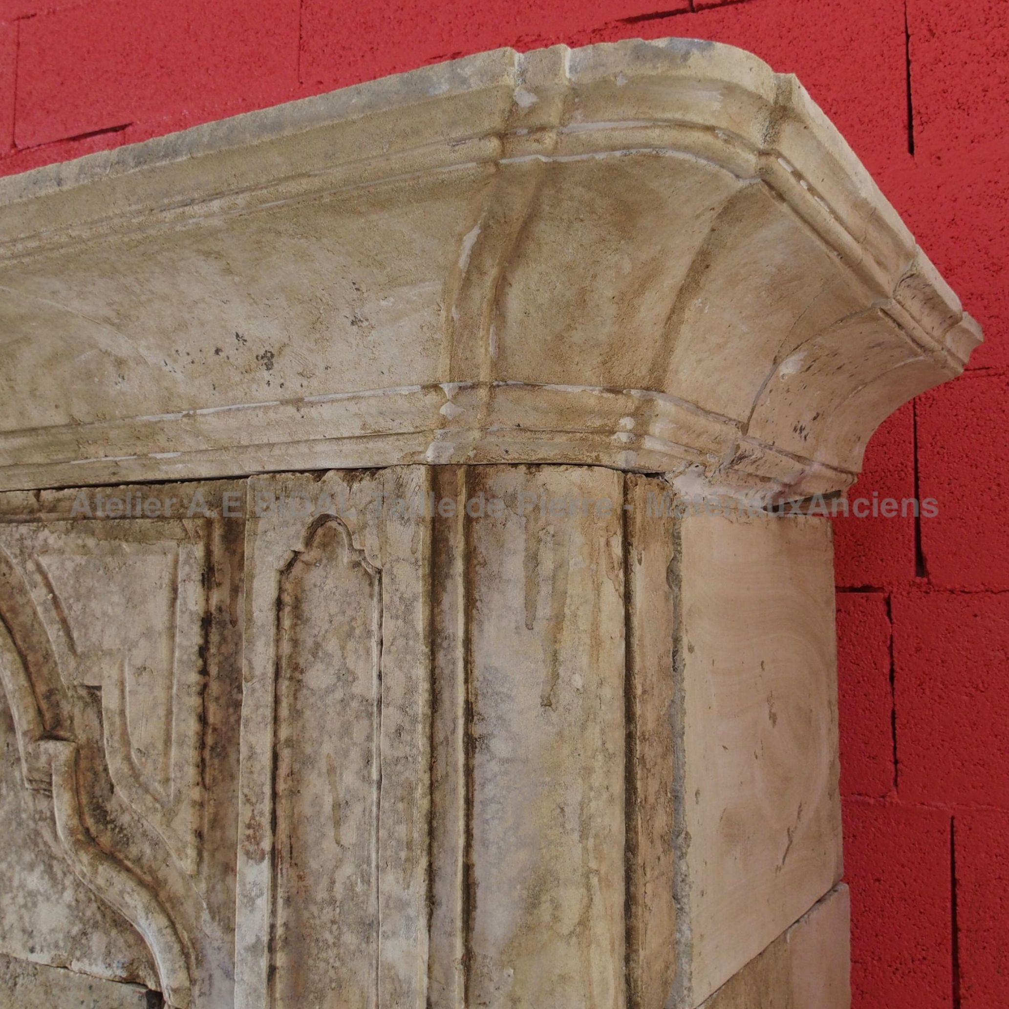 Beautiful moldings on our Louis XV fireplace with overmantle.
