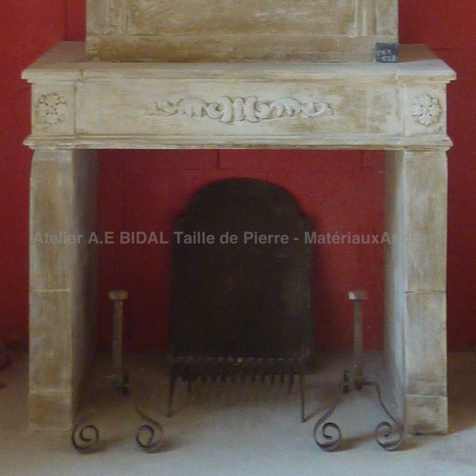 Fireplace made of authentic stone - a vintage stone fireplace.