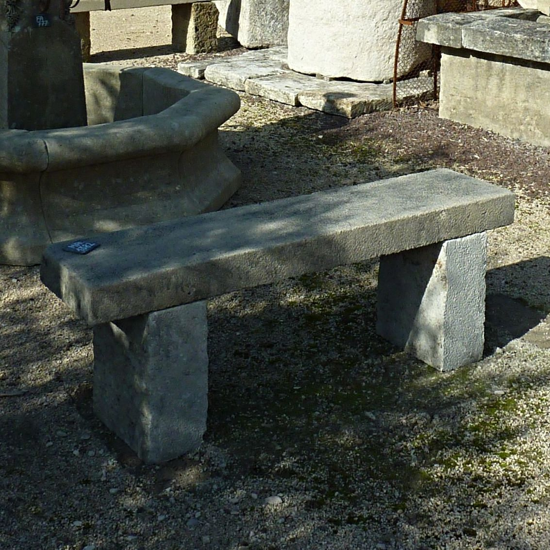 Stone bench with natural patina - Old garden furniture.