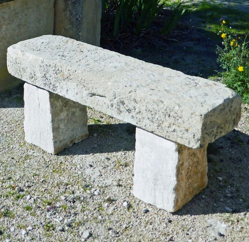 Antique garden bench in stone by Alain Bidal Antique Materials in Provence.