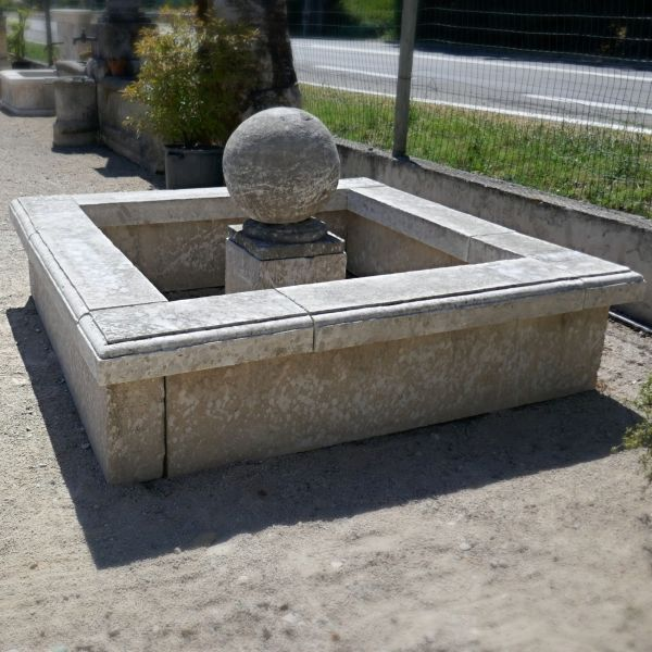 Provencal stone basin | Square fountain with base and stone ball