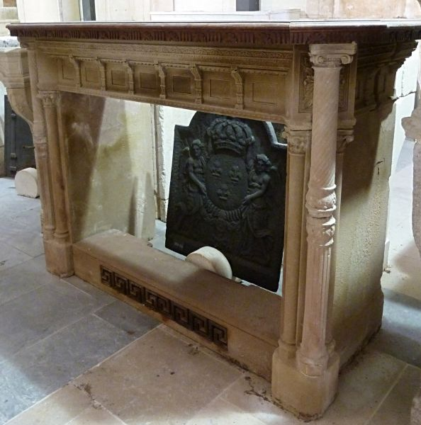 Stunning antique stone fireplace- An Empire stone fireplace.