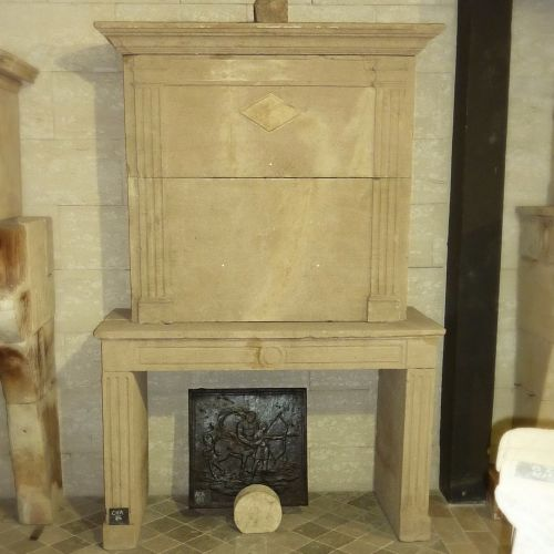 Fireplace Louis 16 - antique stone fireplace with overmantle.