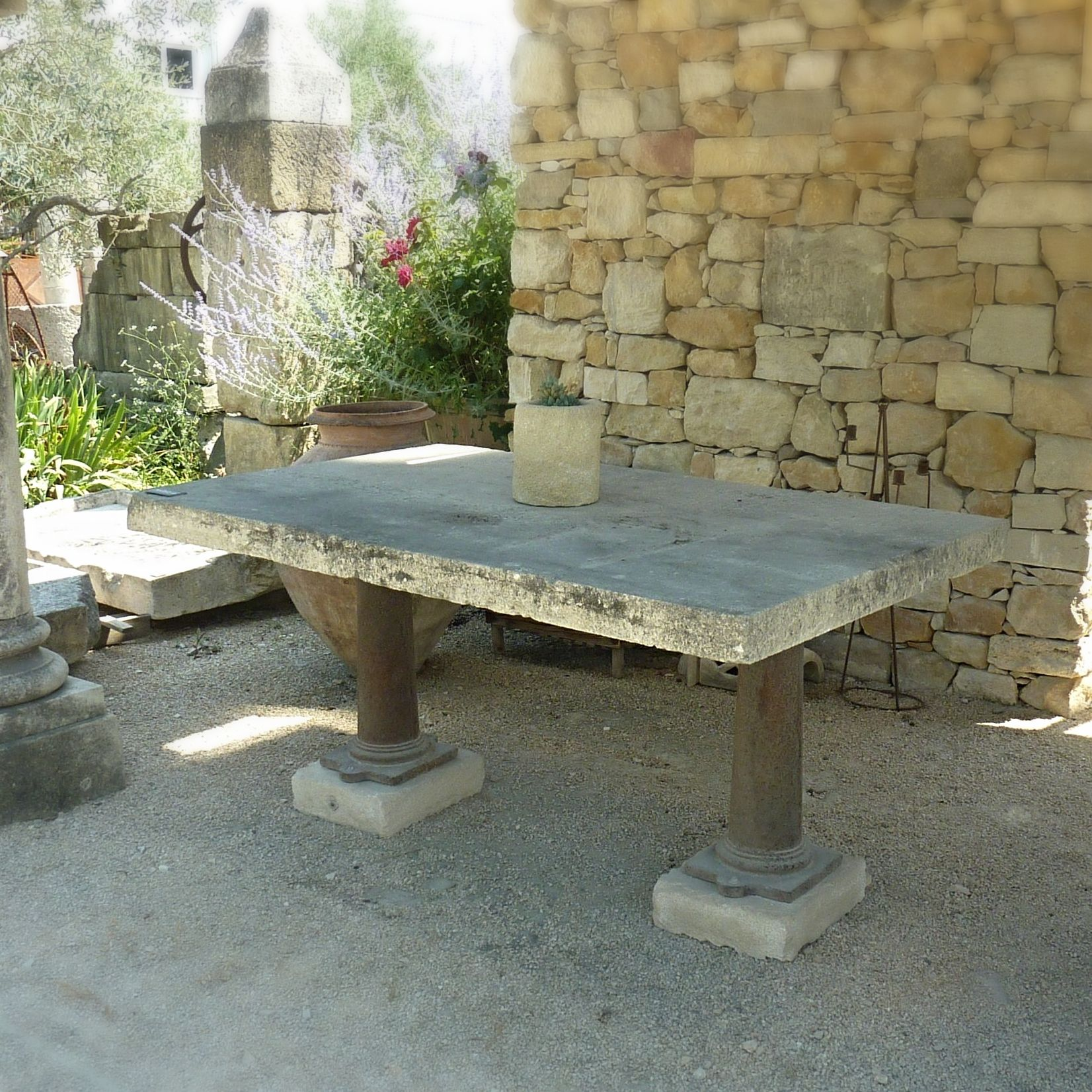 Old table for 8 guests, made of old materials - old garden furniture.