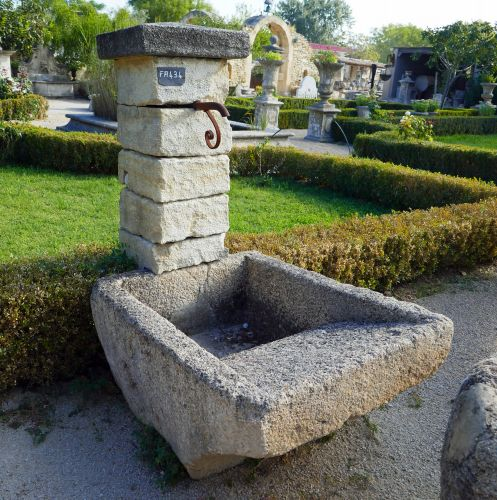 Ancient fountain of Provence in natural stone by Alain Bidal Antique Materials in Provence.